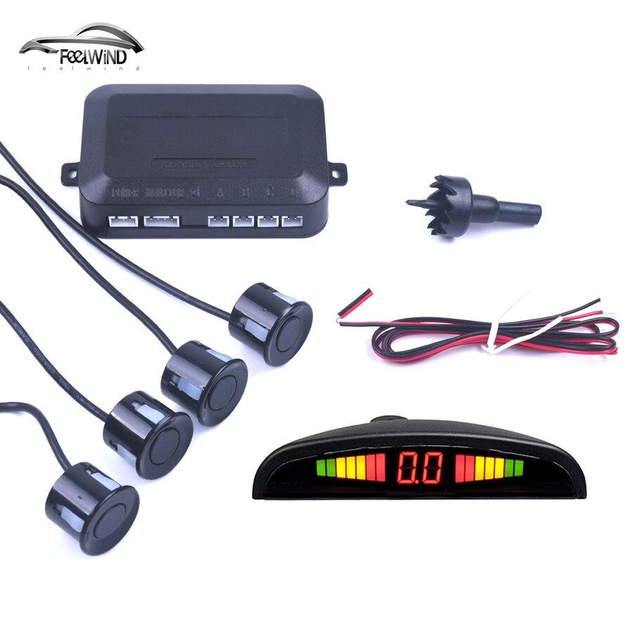 Coche Auto Parktronic LED Sensor de aparcamiento con 4 sensores reversa copia de seguridad coche aparcamiento Radar Monitor Detector sistema pantalla de fondo