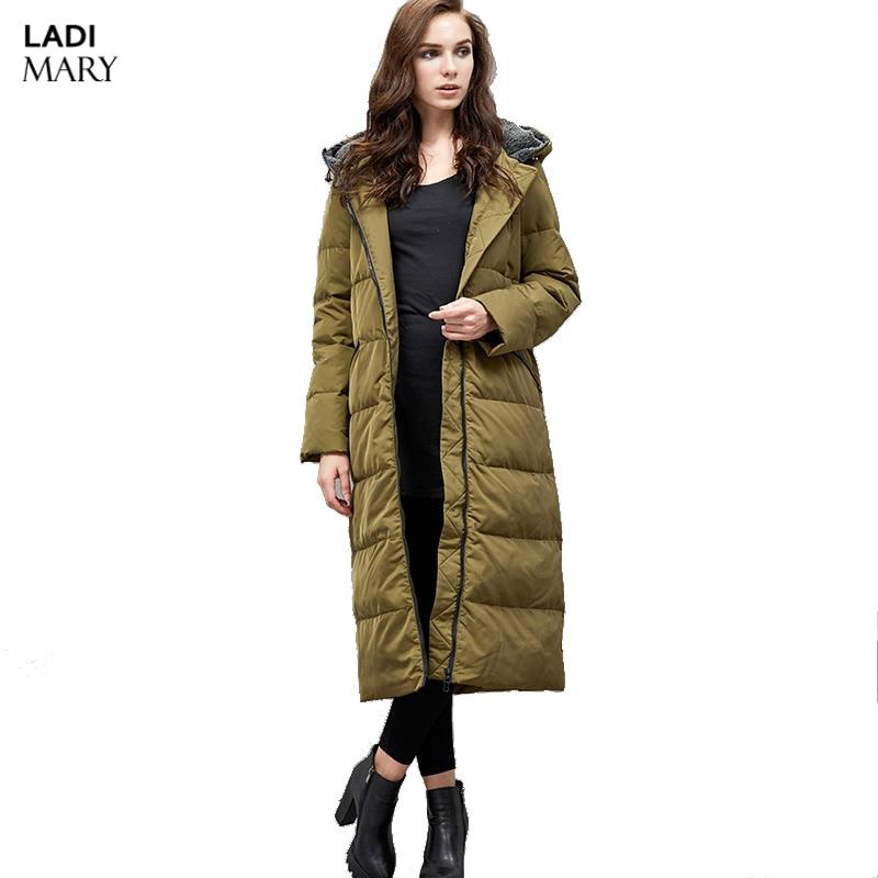 LADIMARY High-End Brand Ladies Winter Warm Coat Women Filling Long 70% Grey Duck Down Jacket Women Jackets Y16064