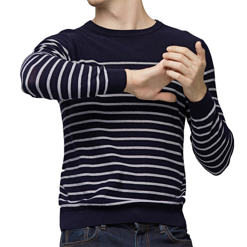 MuLS 2019 Spring Knit Sweater Men Pullover Striped Sweater Jumpers Autumn Male Cotton knitwear Youth Blue Black Grey Size M-3XL 3