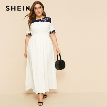 SHEIN Plus Size White Abaya Floral Print Panel Keyhole Back Maxi Dress Women 2019 Summer Autumn High Waist A Line Casual Dresses
