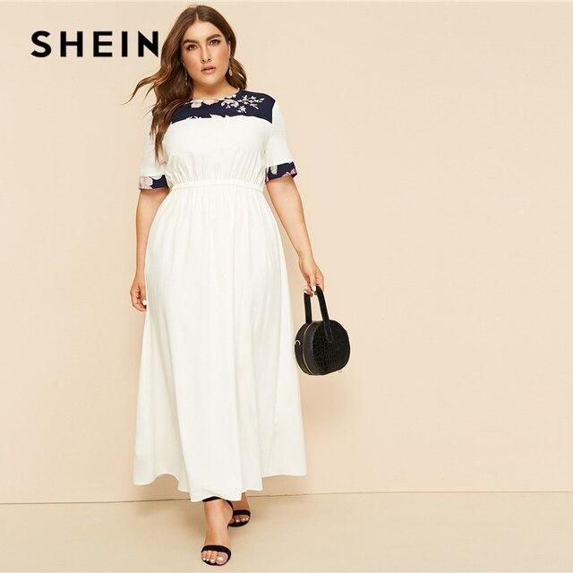 SHEIN Plus Size White Abaya Floral Print Panel Keyhole Back Maxi Dress Women 2019 Summer Autumn High Waist A Line Casual Dresses
