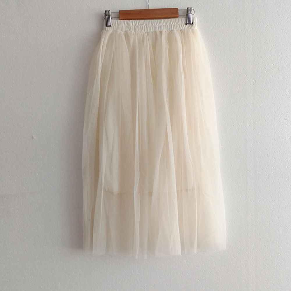 Nieuwe Mode met Tule Rokken vrouwen Zwart Grijs Wit Volwassen Tule Rok Elastische Hoge Taille Geplooide Midi Rok vrouwen zomer