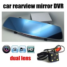 car rearview mirror auto DVR dual lens dash cam recorder video registrator camcorder full HD night vision 4.3 inch screen