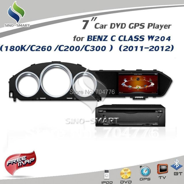 For Mercedes Benz C CLASS W204 180K/C260 /C200/C300  7'' Car  DVD GPS Player Support IGO/Tomtom/Route 66/Papago map