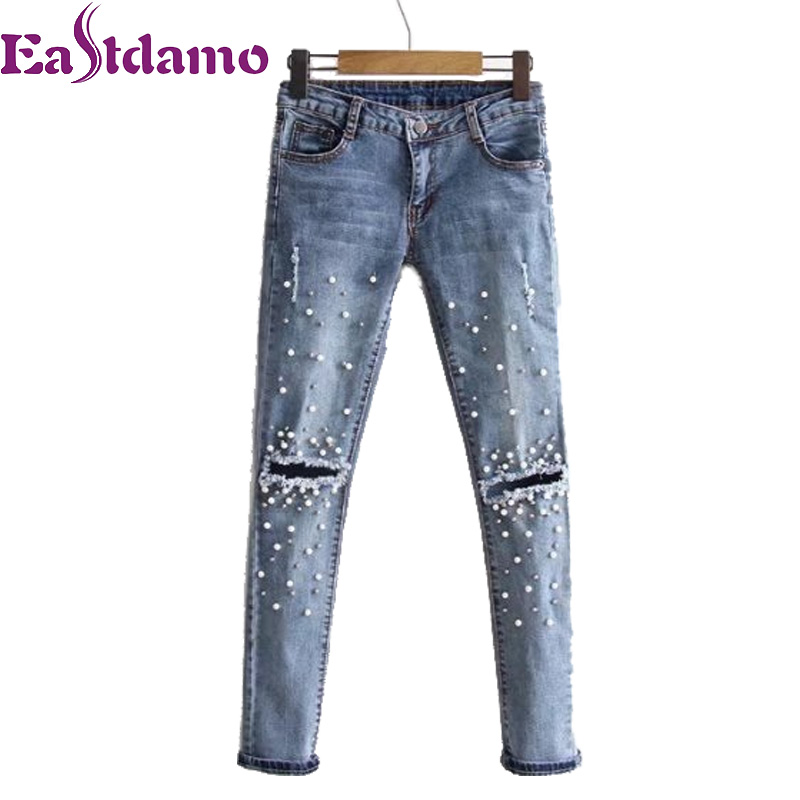 Eastdamo Women Pearl Beading Jeans Sexy Ripped Hole Jeans Ankle-length High Waist Pencil Denim Pants Beading Flares Slim Jeans 2017 ripped jeans women casual denim ankle length boyfriend pants women floral embroidered flares hole female slim pencil pants