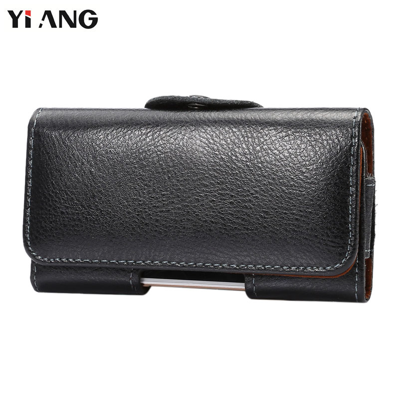 YIANG Second Layer Genuine Leather Waist Bag Waist Packs Fanny Pack Men Mobile Phone Bags Belt Clip Bag Luxury 7 Size Black