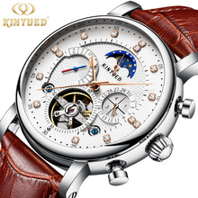 KINYUED Watch Men Waterproof Men's Mechanical Watches Top Brand Luxury Moon Phase Leather Strap Skeleton Watch Sport Watch kinyued creative automatic men watches 2018 luxury brand moon phase mens mechanical watch skeleton rose gold horloges mannen
