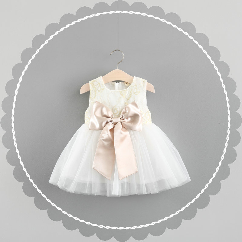 kids dress White baby girls dress summer 3T girls dresses for party and wedding sleeveless dress