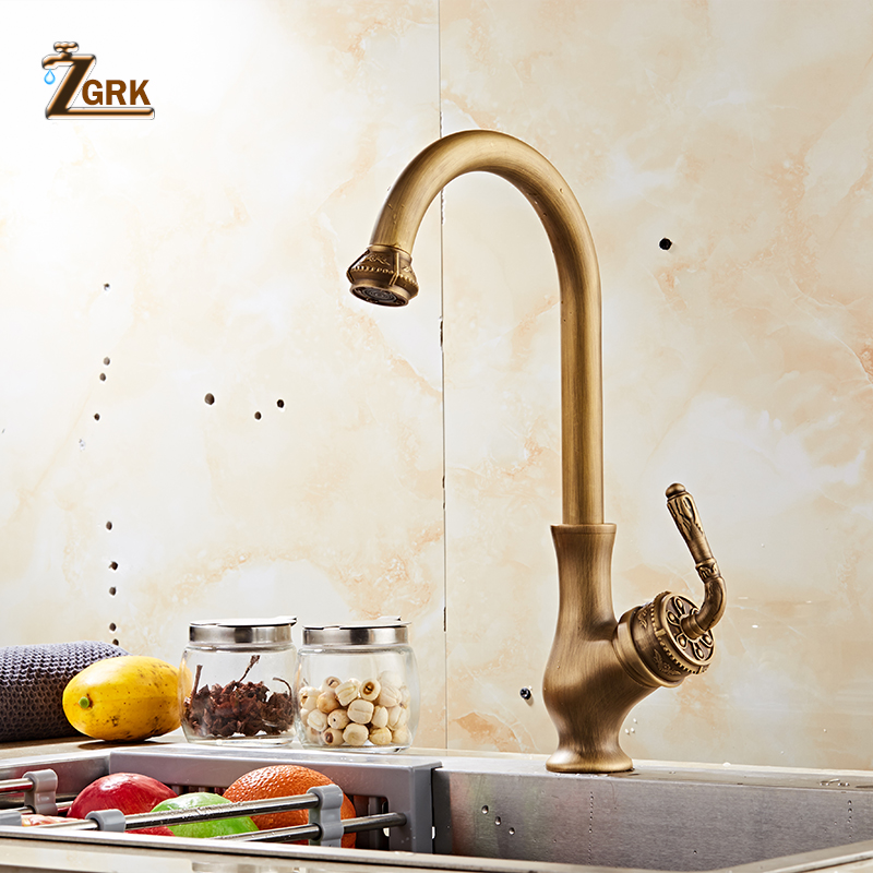 ZGRK Kitchen Faucets Hot Cold Mixer Water Tap 360 Swivel Antique Brass Porcelain Mixer Tap Bathroom