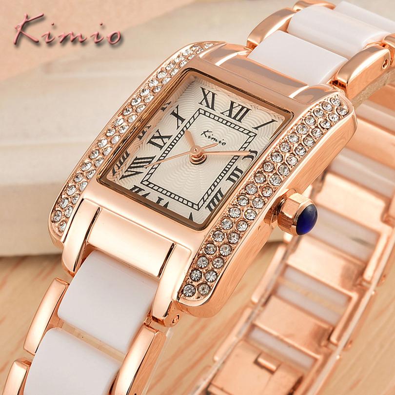 Prix pour KIMIO Dames Montres De Luxe de Marque Femmes D'affaires Décontractée Quartz Horloge Nouvelle Femme Robe De Mode Imitation Céramique Bracelet Montre