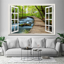 Landscape Canvas Printings Wall Art Picture Forest Scenery Outside the Window Home Decor Painting Posters for Living Room