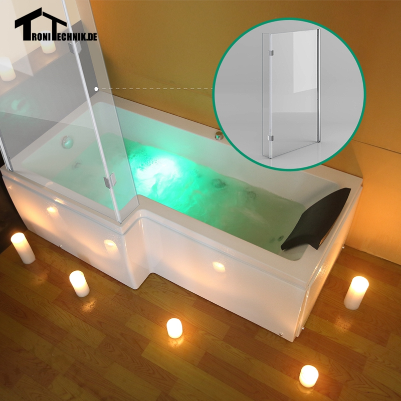 1700mm L Shaped LEFT Hand Whirlpool Shower Spa massage