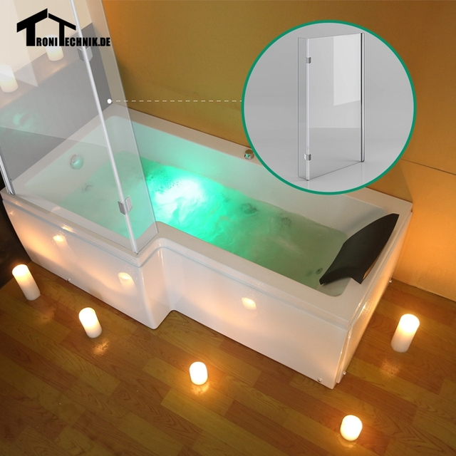 US $926 71 |1700mm L Shaped LEFT Hand Whirlpool Shower Spa massage Bathtub  JET Screen Front Panel BASIN Acrylic with Hinged Screen BASIN-in Bathtubs &