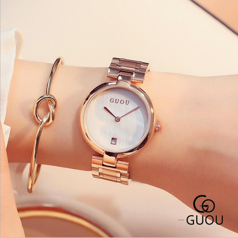 GUOU Brand Wrist watch Women Watches Luxury Rose Gold Women's Watches Full Steel Ladies Watch Auto Date Clock relogio feminino guou watch women luxury rose gold ladies watch auto date full steel quartz watch wristwatch fashion reloj mujer relogio feminino