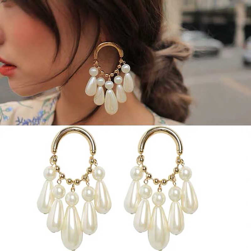 Lalynnly Hot Sale Simulated Pearl Drop Dangle Earrings Fashion Elegant Round Earrings For Wedding Party Jewelry Gifts E42071