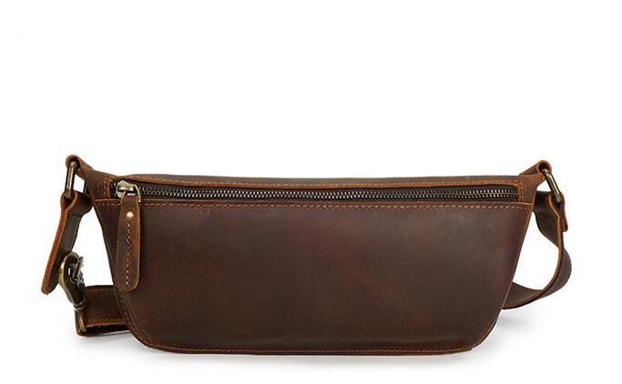 Casual Handmade Unisex Genuine Leather Waist Packs Outdoor Belt Bag