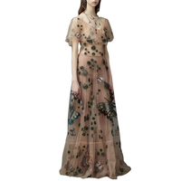2017 Winter Boho Mesh nude Long Dresses Women Vintage Luxury Dress Butterfly Embroidered Beaded cocktail Party Maxi Vestidos
