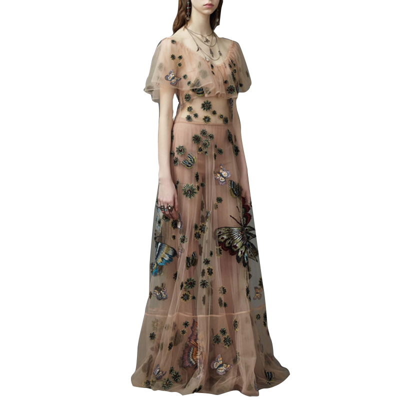 2018 Summer Bohomian Mesh nude Long Dresses Women Vintage Luxury Dress Butterfly Embroidered Beaded cocktail Party Maxi Vestidos