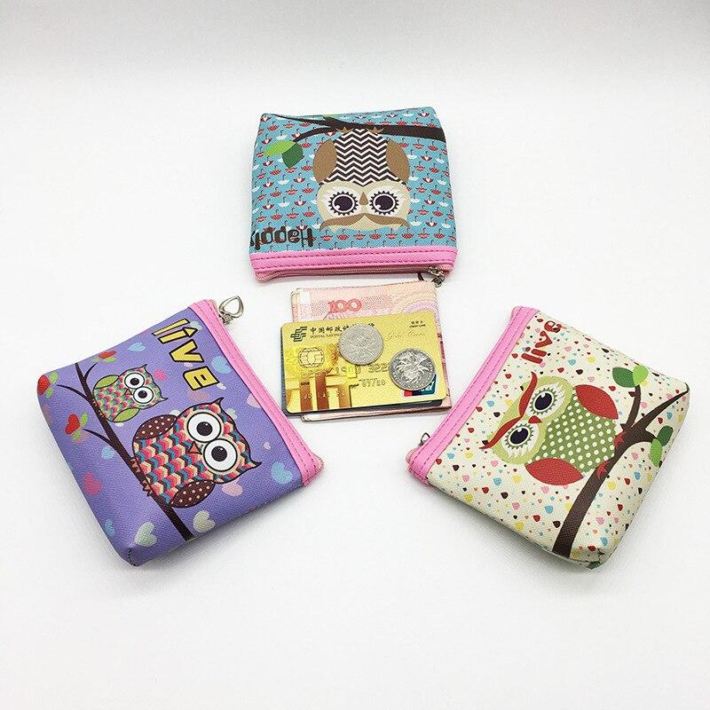 2017 Portable Girl Cartoon Cute Printing Owl Pu Leather Women Purse Wallet Bag New Coin Purse Change Kids Card Money Pouch