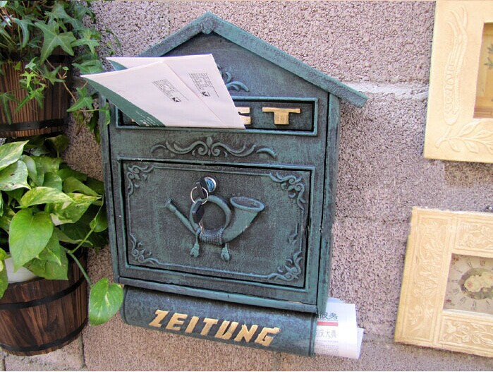 Dark Green Large Cast Iron Wall Mailbox with Newspaper Zeitung Holder Mail Letters Post Box Antique Solid Metal