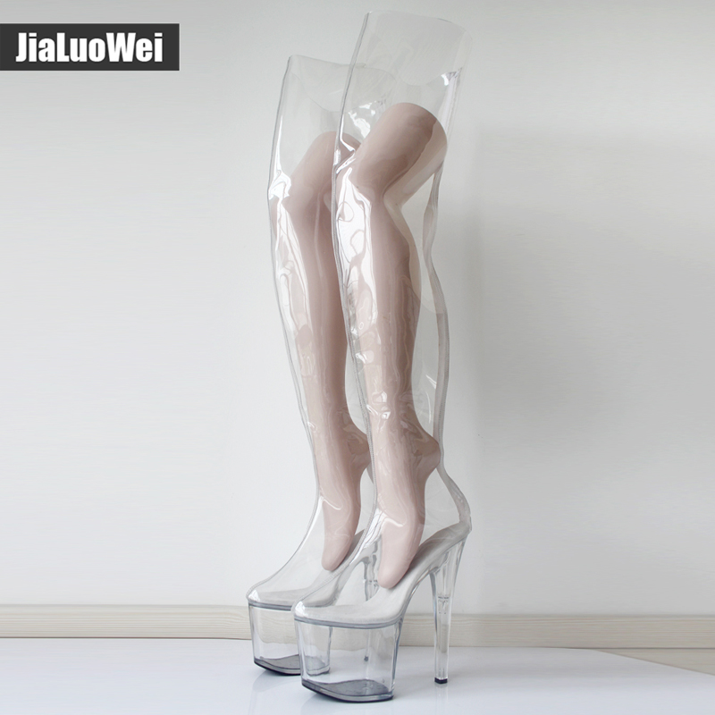 Women 20cm Extreme High Heels +9CM Platform Clear PVC Over-Knee High Boots Sexy Fetish Zip Fashion Show Transparent Crotch Boots scoyco motorcycle riding knee protector extreme sports knee pads bycle cycling bike racing tactal skate protective ear
