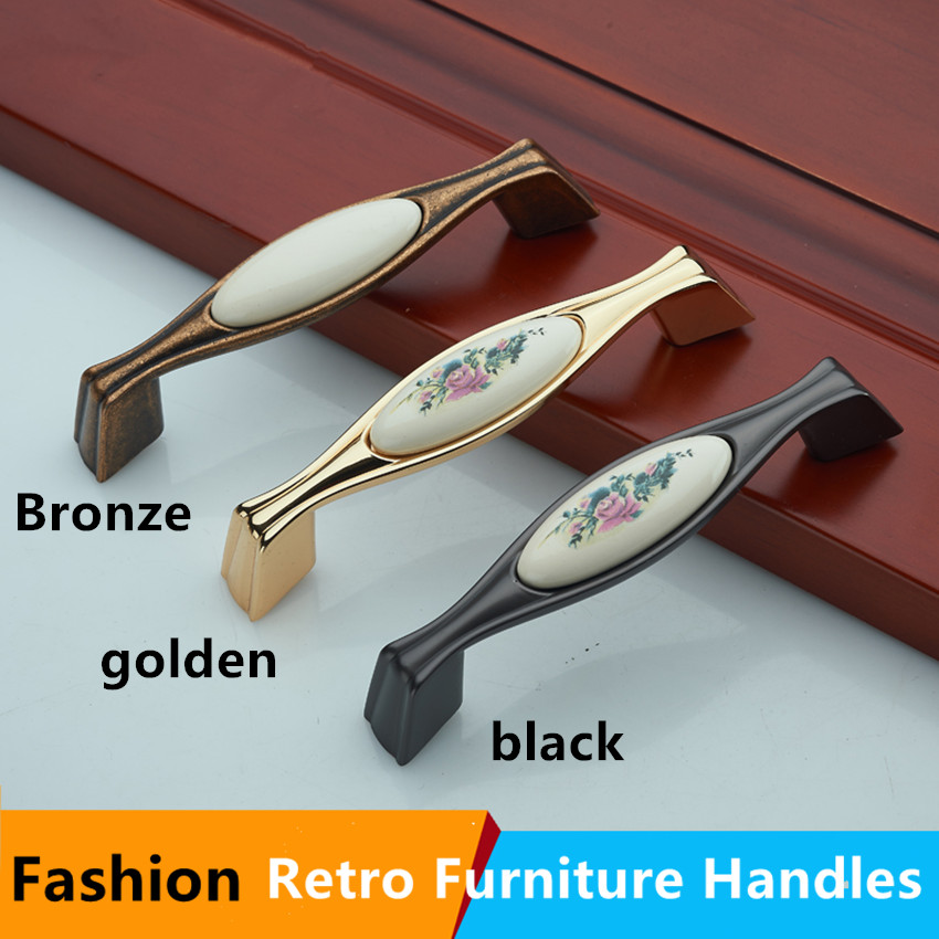 96mm 128mm fashion Printing ceramic dresser door handles bronze golden black kitchen cabinet drawer pull knob retro furniture 5 115mm 96mm golden flower ceramic dresser door handle bronze drawer cabinet knob pull vintage furniture handles 4 5 rings pull