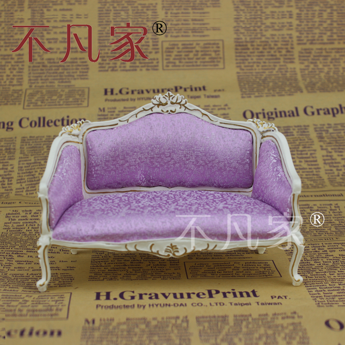FINE Dollhouse 1/12th Scale Miniature furniture livingroom white Double sofa 1 12 scale fine dollhouse miniature furniture white cabinet