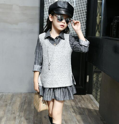 Girls Set 2018 Spring & Autumn Childrens Clothing Sets Teenage Girls Long Sleeve Striped Blouse +vest Kids Clothes Sports Suit