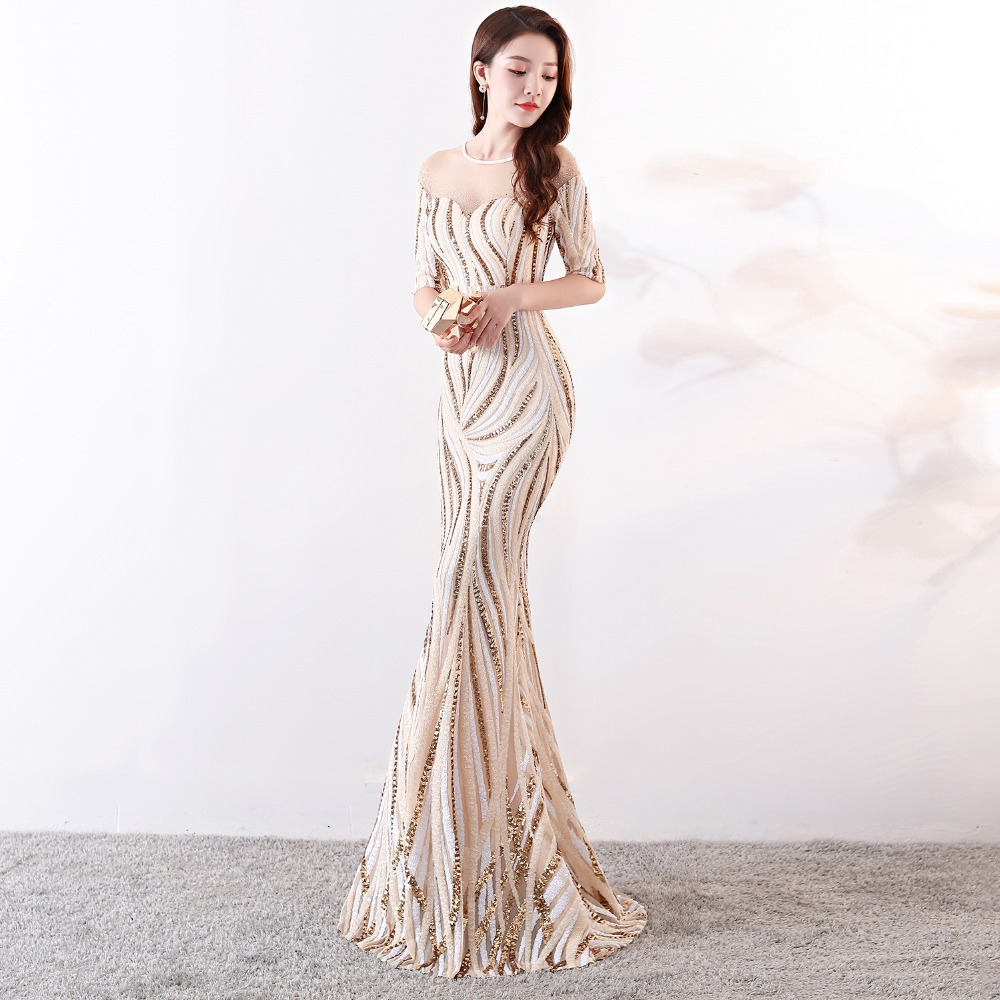 Elegant Crystal Beaded See Through Voile Shor Sleeve Mermaid Long Formal Dresses For Women 2018 Sexy Nightclub Wear Party Dress (13)