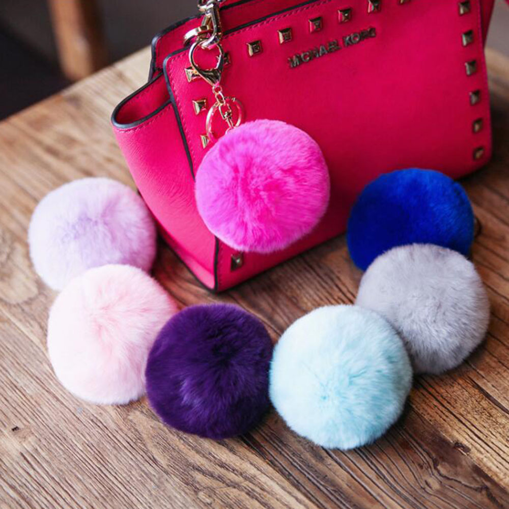 2016 New Real Rex Rabbit Fur Ball Keychains Fur Keychain Fur Pom Pom Key chain Fur Key Ring For Bag sleutelhanger portachiavi