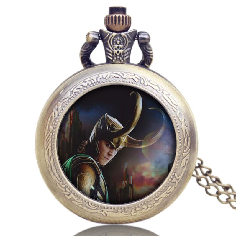 New Fashion Movie Theme Thor Loki Pocket Watch Marvel's The Avengers Tom Hiddleston Pendant Quartz Watches With Necklace