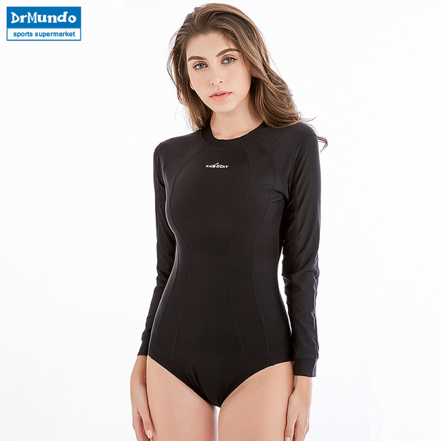 New One Piece Rash Guard Solid Swimwear Patchowrk Diving Suits Long Sleeves Rashguards Zipper Surf Bodysuits Wetsuits