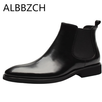 Fashion sewing chelsea boots genuine leather ankle boots pointed toe slip on mens quality work boots black weddin dress shoes