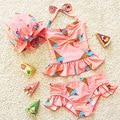 Biquíni crianças meninas rosa swimwear 2017 maiô crianças meninas duas peças com touca de natação maiô moda 2-6years