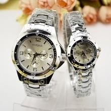 New Korean couple watch, a pair of fashionable men and women quartz watch, high-grade luxury steel watch band, jewelry swatch watch original color series fashionable and generous quartz watch suob402