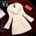 Plus sizes 100% real fur coats,Elegant Women's rabbit fur coat fox fur collar fur jacket coats long coat rabbit overcoats FH8621