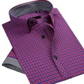 Новый Летний 2016 Мужская С Коротким Рукавом Плед Рубашки Марка Одежды Дизайн Мода Хлопок Slim Fit Бизнес-Рубашка Мужская Повседневная