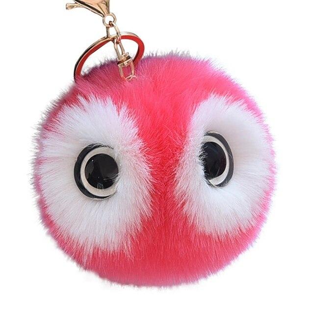 Hot Big Eyes Fofo Chaveiro Bola de Pêlo de Coelho Bonito Dos Desenhos Animados Panda Pompom Saco Chaveiro Carro Das Mulheres Chaveiro Chave Da Coruja anéis