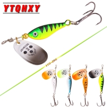 Купить с кэшбэком YTQHXY Spinner Bait Sequin Spoon Metal wobbler 11g 15g 20g Artificial smart lure Fishing Lures With Treble Hook Catfish YE-194