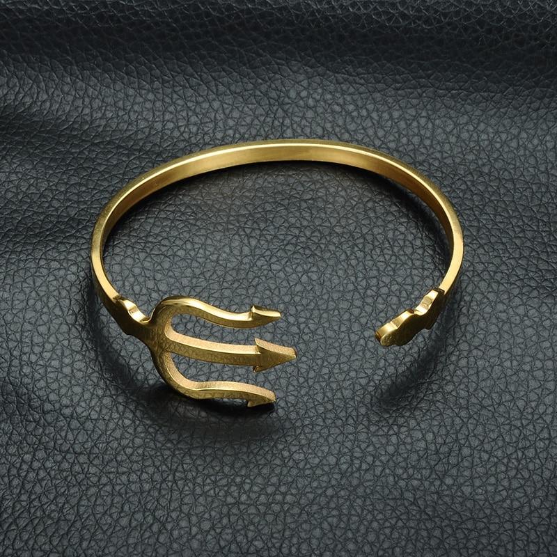 HIP India Cuff Bracelet Open Bangles Rose Gold/Silver Titanium Stainless Steel Fork Trident Bracelet for Men Women Jewelry 8