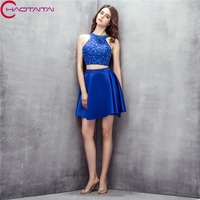 Royal Blue 2018 New Halter Crystal Beaded Off Shoulder Homecoming Dress Short Cocktail Party Dress Homecoming