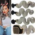 1b Grey Bundles With Closure 7A Peruvian Body Wave Silver Gray Hair Extensions Two Tone Ombre Human Hair Weave With Lace Closure