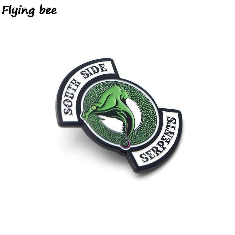 Flyingbee ривердейл зеленая змея Эмаль Булавка для одежды сумки значок для рюкзака Брошь Личность рубашка нагрудные булавки X0195