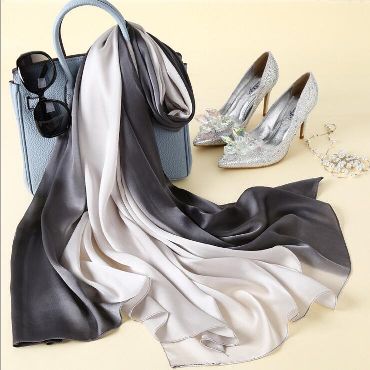 New 2018 Design Luxury Brand Solid silk Summer   Scarf   Gradient Dip dye Women Muslim Hijab Shawl Long Soft   Wrap   winter   scarves