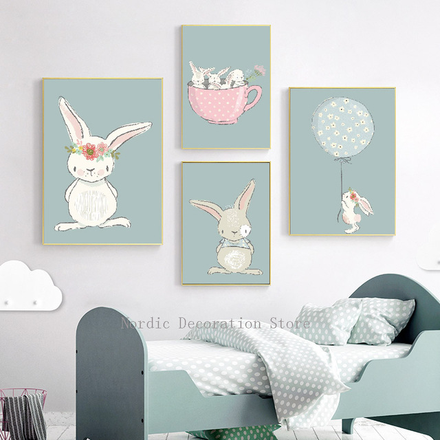Superbe Nordic Poster Kids Room Cartoon Rabbit Posters And Prints Wall Art Canvas  Painting Pink Tea Cup