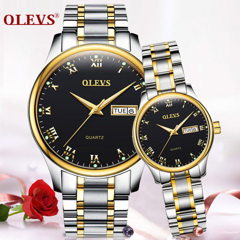 OLEVS 2018 Luxury Brand Lover Watch Women Waterproof Couples Watches Female Wristwatches Quartz Men Stainless Steel Watch 1Pair Islamabad