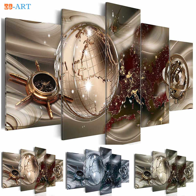Globe Compass Prints Canvas Art 5 Pieces Abstract Painting Modern Wall Painting Modular Pictures for Living Room Home Decor