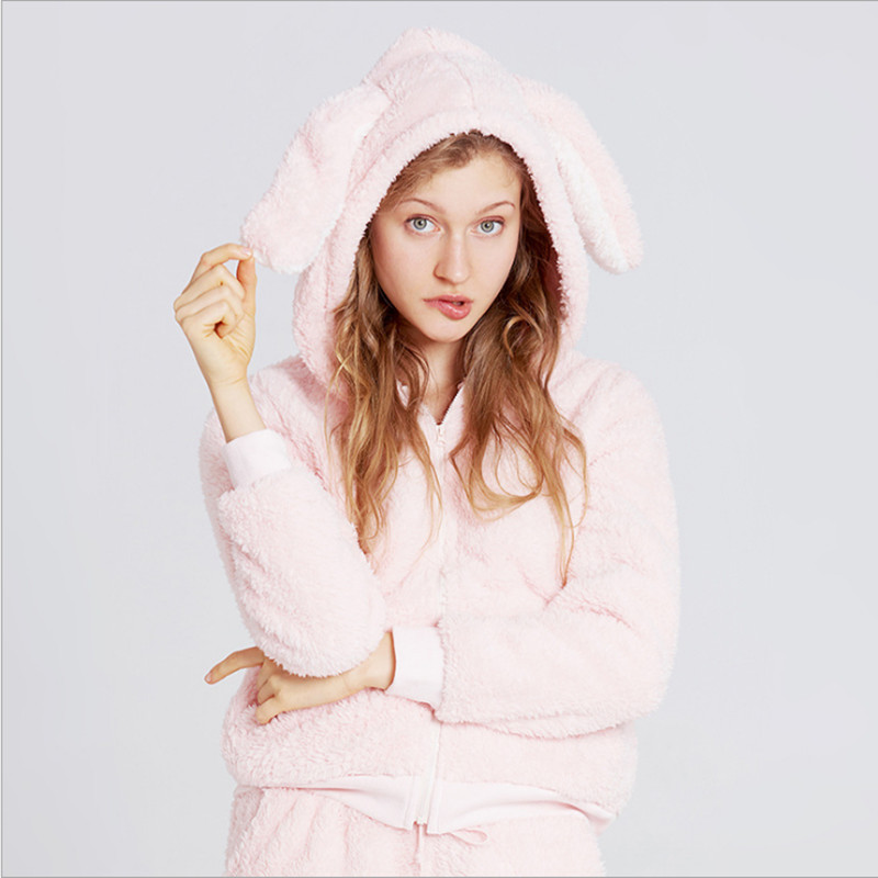 Cute women sleep top pink color with sweet rabbit ear warm hooded fashion flannel top quality winter pajamas for ladies