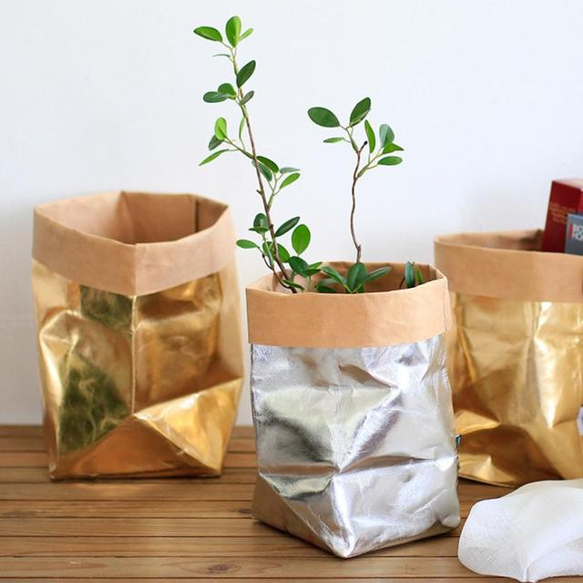 HOT SALE NEW Arrivals Washable Kraft Paper Bag Plant Flowers Pots  Multifunction Home Storage Bag Reuse