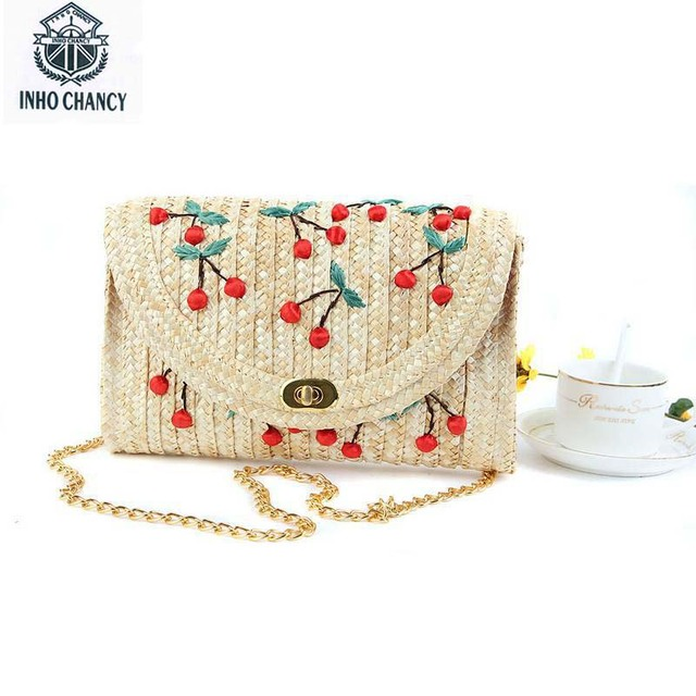bd4d4d934d1be Weave Embroidery women bag bolso mimbre Fruit pattern Messenger Bags bolsa  Bohemian Style Mini clutch women messenger bags